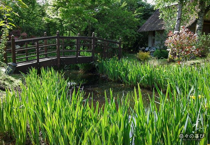 jardin japonais musica nigella, plan d'eau et pont japonais