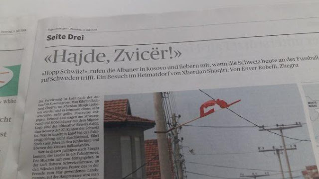 """Come on Switzerland!"", the Swiss newspaper with Albanian headline at the eve of Swiss-Sweden match"