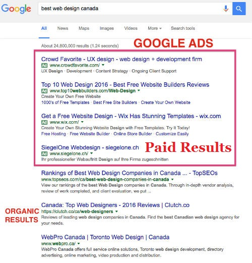 Difference between Organic Results and Paid results