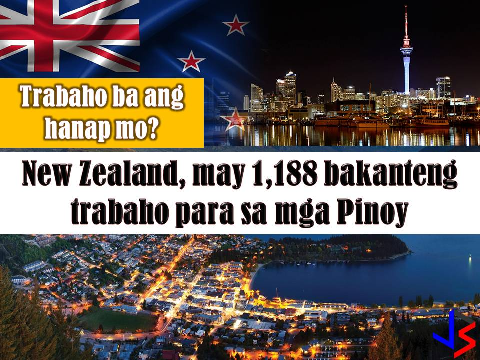 New Zealand is another country hiring for Filipino workers every month. This March 2018 there are 1, 188 vacancies in New Zealand opened for Filipino workers. Jobs included welder, carpenter, painter, driver, machinist and many others. Below is the full list of job orders from the job site or employment site of Philippine Overseas Employment Administration (POEA).  Read more: http://www.jbsolis.com/2018/03/looking-for-jobs-abroad-new-zealand-has-1188-vacancies-for-filipinos.html#ixzz59U5TC3tW