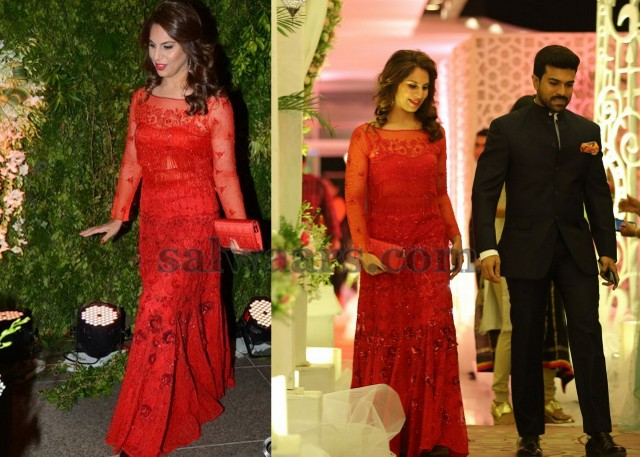 a4d78e0388 Upasana Kamineni Red Long Frock - Indian Dresses