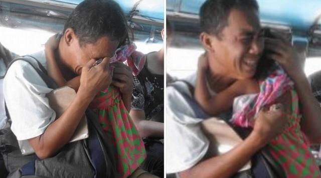 Memilukan Pria Ini Terus Menangis Sambil Menggendong Anak, Seorang Penumpang Datang dan Ungkap Fakta Yang Mengejutkan.