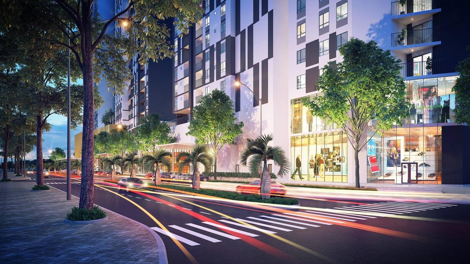 Khu thương mại dự án Kosm Tây Hồ sầm uất được bố trí tại tầng 1 và tầng 2