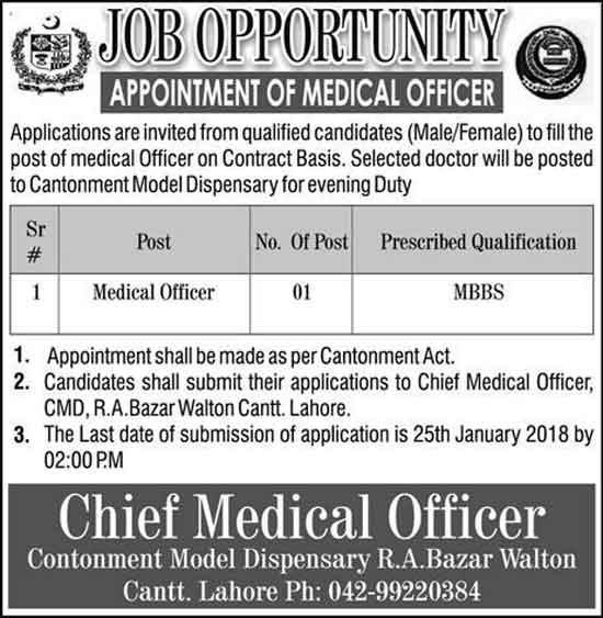 Jobs In Cantonment Model Dispensary Lahore Jan 2018