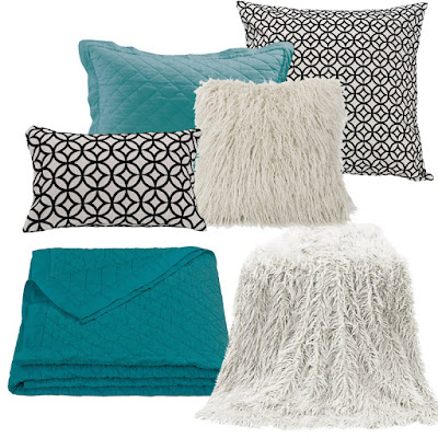 Turquoise Diamond Linen Quilt and Sham, Mongolian Fur Throw and Pillow and Augusta Accent Pillows