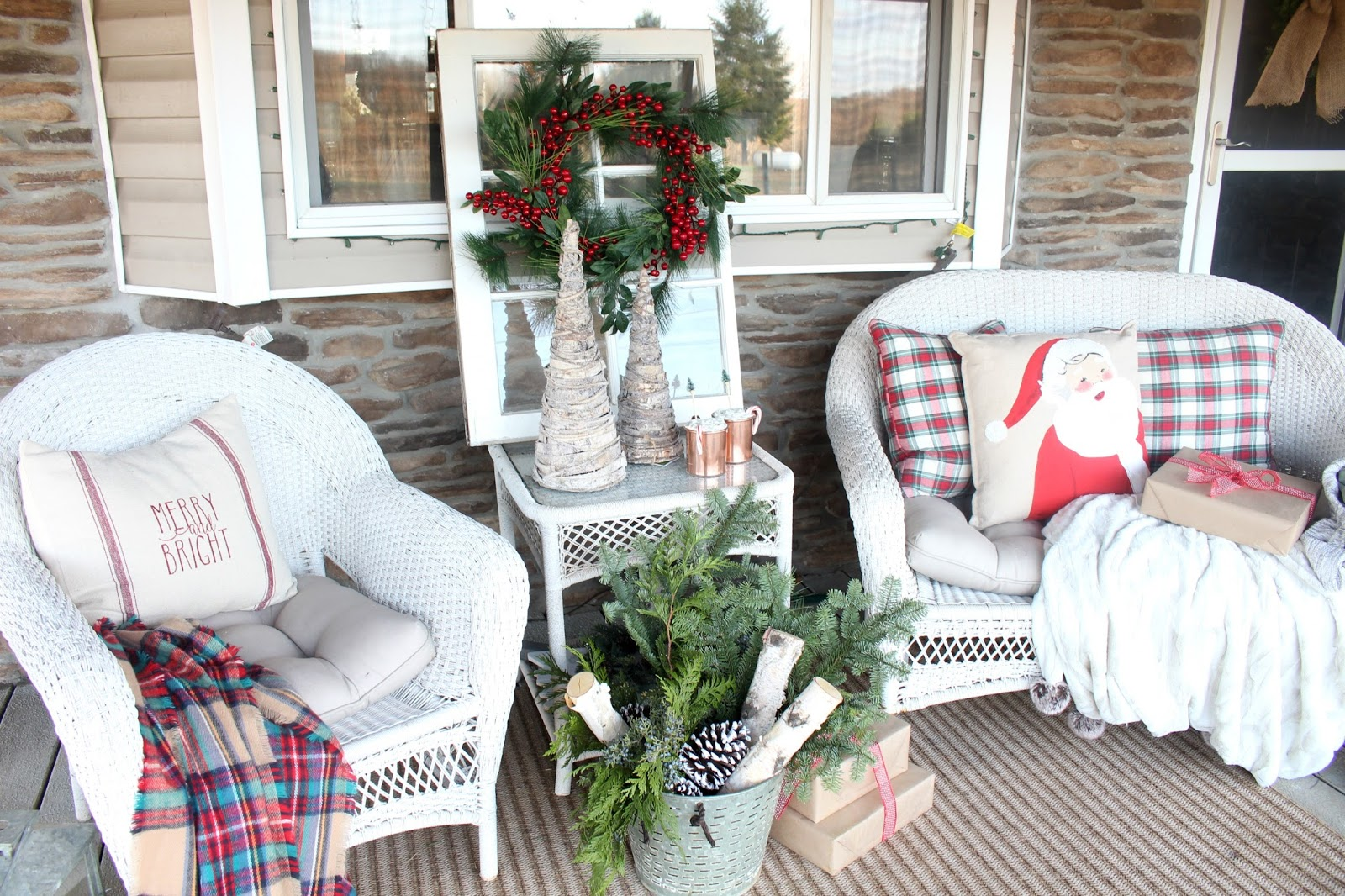 Id Love To Hear What You Think Of Our Little Rustic Farmhouse Christmas Porch Can Chat With Me On Instagram Facebook