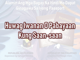 The passport is the most important document for the overseas Filipino workers (OFW) and even for the Filipinos who frequently travel outside the country. We should take good care of it. It is not easy to acquire one, especially when even getting an online appointment is like passing through a needle hole although there is a special courtesy lane for OFWs which do not require an online appointment. After securing an appointment, you need to go through DFA passport processing and submit the needed documents.  The new electronic passport (E-passport) validity was extended to so you will be working with it for ten years unless the pages are already full of stamps. In that case, you may need to apply for a new one.        Advertisement  There are things that we should not do with our passport. Taking care of it has to be a way of life.    Do Not Abandon it You are given a maximum of six months to claim it or have it delivered to you, after applying for your Philippine passport. All unclaimed passports beyond that period are canceled automatically in compliance to Department Order No. 37-03. You would just be wasting time and money going through the process of preparing your documents, the actual application and paying for it if you would just abandon it.    Keep it out of children's reach!  A Chinese man was put on hold in Korea after his kid doodled on his passport. The man was preparing to go back to China when he found out that he had made a huge mistake by leaving his passport with his son who treated his passport as a sketchbook. If you let them vandalize your passport, it is not their fault.  Any unauthorized sketches and signature could render your passport invalid for travel.    Do Not Lose it When traveling regard your valid passport as the most essential thing which should be on top of your checklist together with your credit card, cash, and clothes.  immediately report the loss of your passport to the Consular Records Division of the Department of Foreign Affa