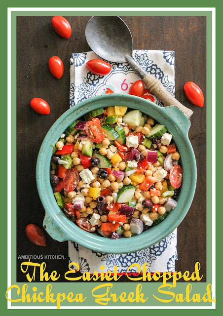 The Easiest Chopped Chickpea Greek Salad.