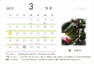 暦と和花のカレンダー はがきさいず