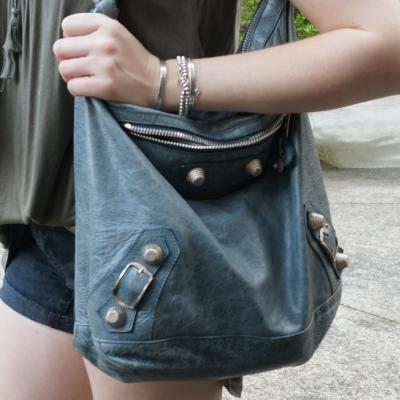 Balenciaga tempete giant silver hardware day bag and bracelet stack | AwayFromTheBlue
