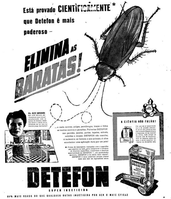 Propaganda antiga do inseticida Detefon veiculada em 1950 para eliminar baratas em casa