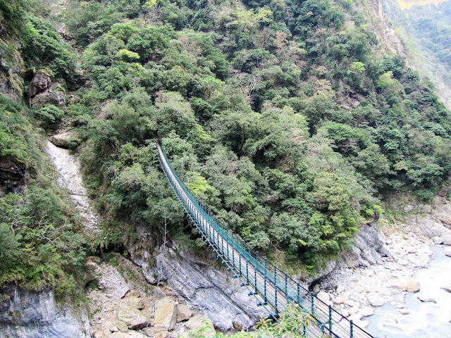suspension bridge jhuilu old trail taroko gorge taiwan