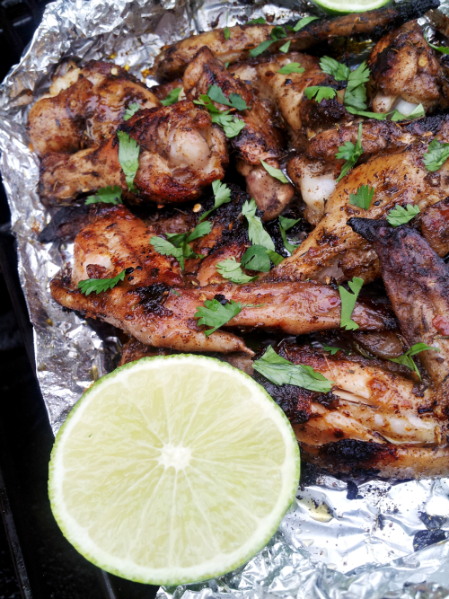 Jerk Chicken Wings Grilled in Foil