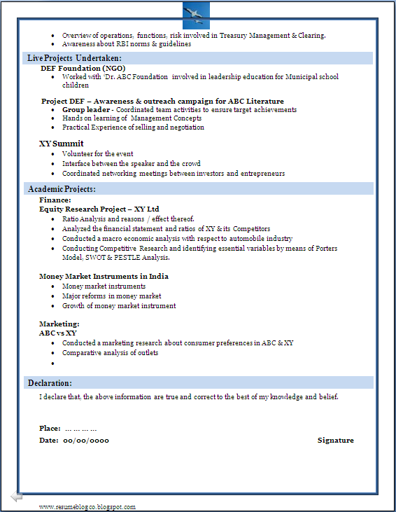 sle of a beautiful resume format of mba fresher