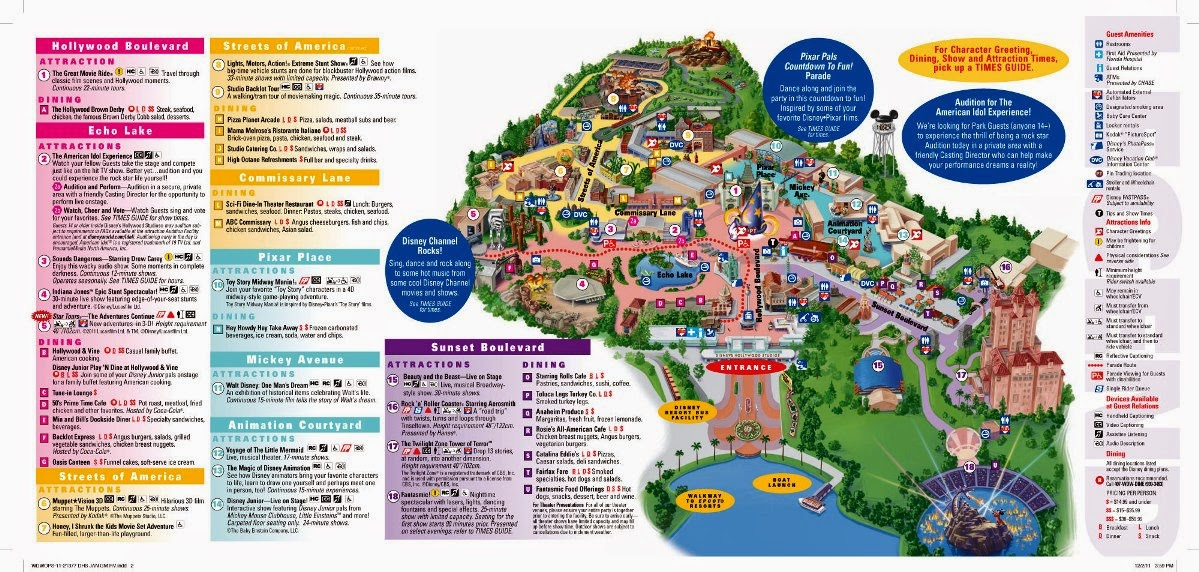 Mapa do Parque Disney Hollywood Studios em Orlando