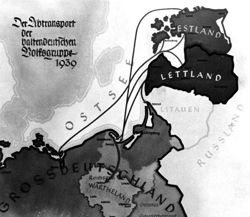 German map showing Nazi German plans to resettle the Baltic Germans in Warthegau (1939)