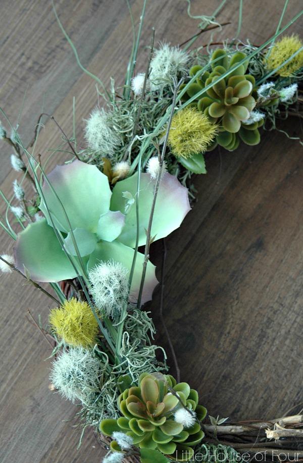 faux succulent Spring Wreath