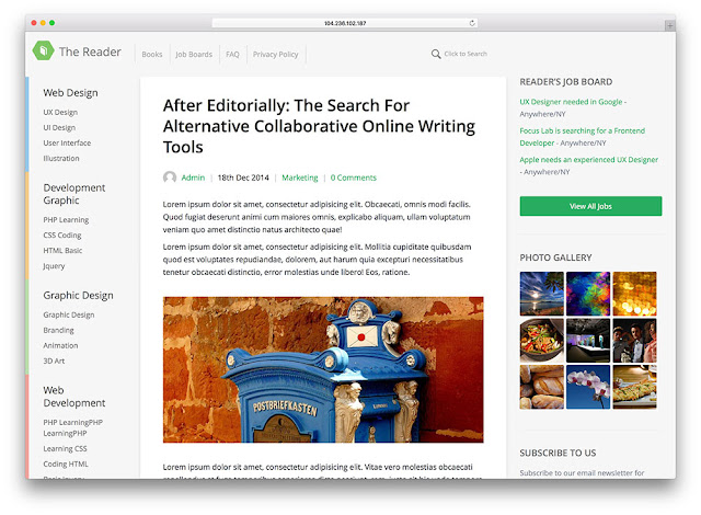 The Reader Wordpress Teması