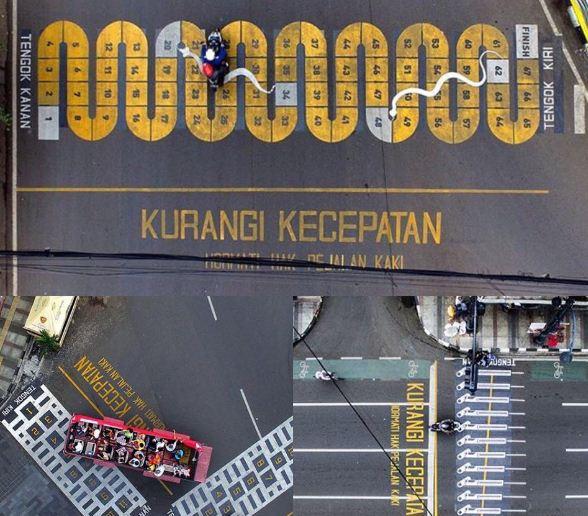 Jalan Kota Bandung Punya Zebra Cross Desain Unik