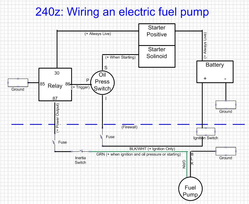 wiring diagram for an electric fuel pump and relay wiring fuel pump wiring harness s electrical classic zcar club on wiring diagram for an electric fuel