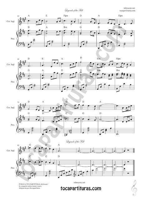 3 Legends of the Fall Sheet Music for English Horn
