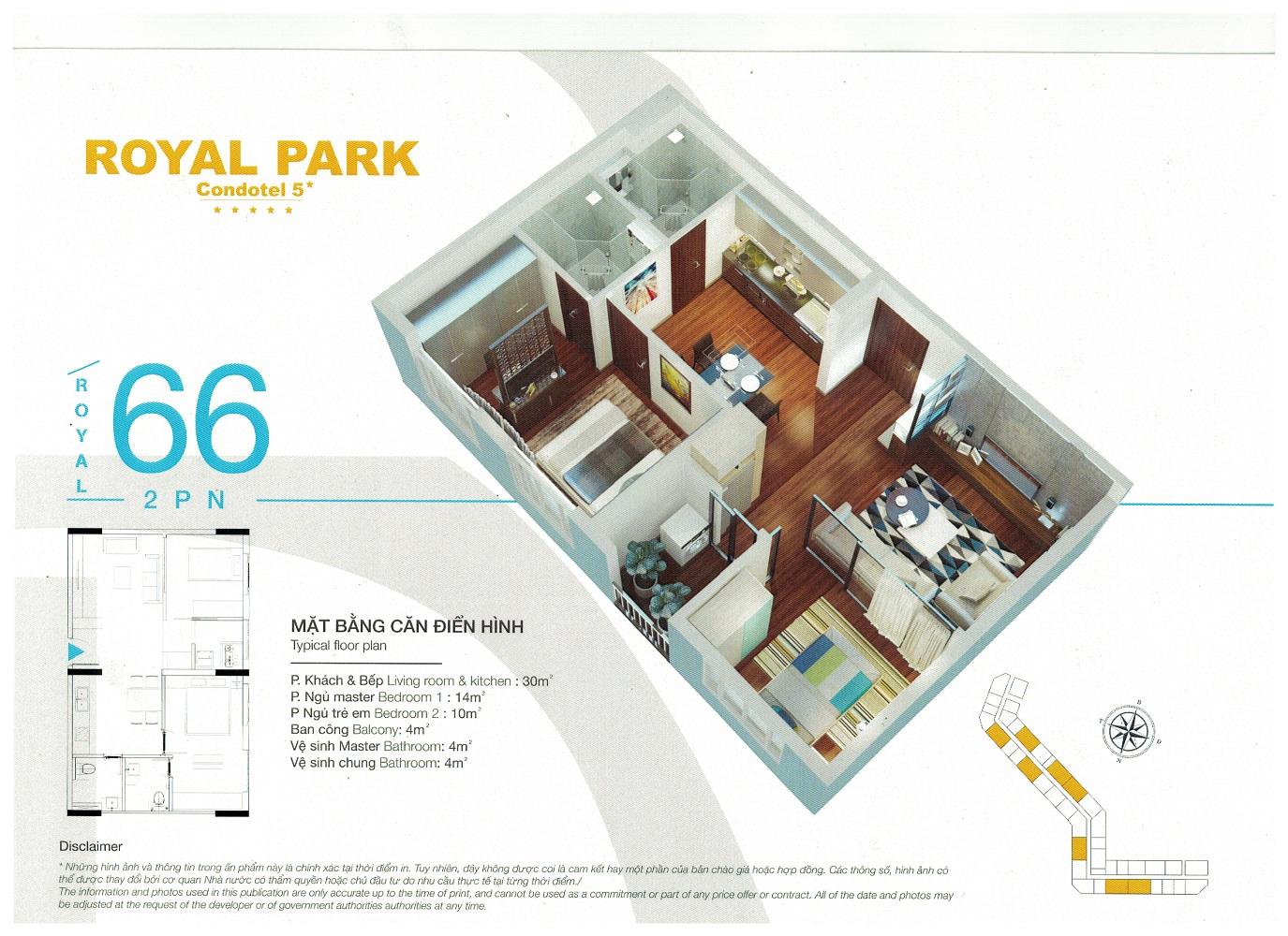 Thiết kế mặt bằng căn hộ khách sạn nghỉ dưỡng Royal Park Bắc Ninh 66m2