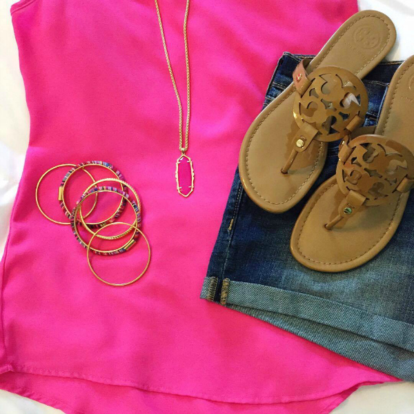 tory burch millers, pink top