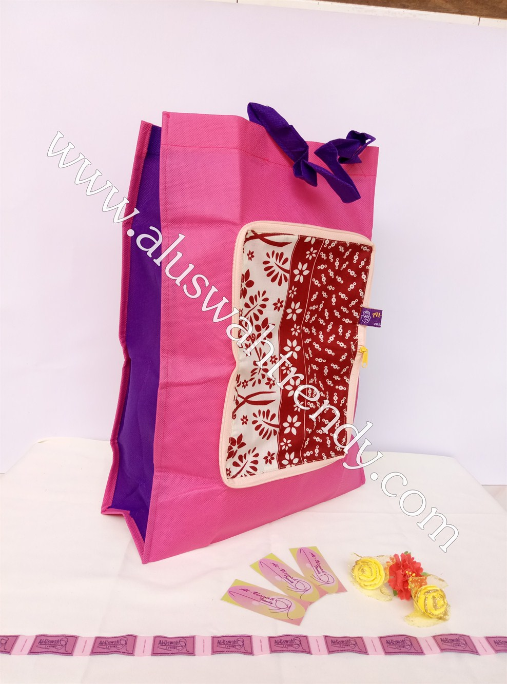 Tas Belanja Lipat Pink Motif Bunga 08