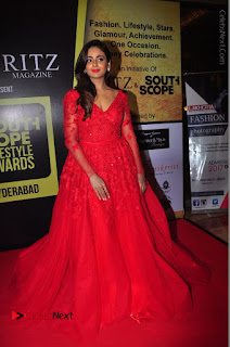 Actress Model Parul Yadav Stills in Red Long Dress at South Scope Lifestyle Awards 2016 Red Carpet  0088.JPG
