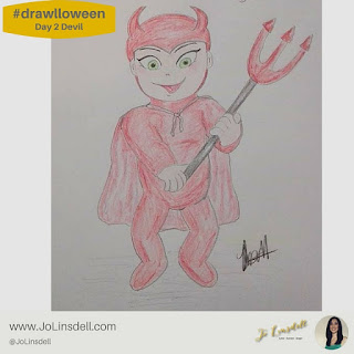 #Drawlloween Day 2 Devil #Drawing #challenge