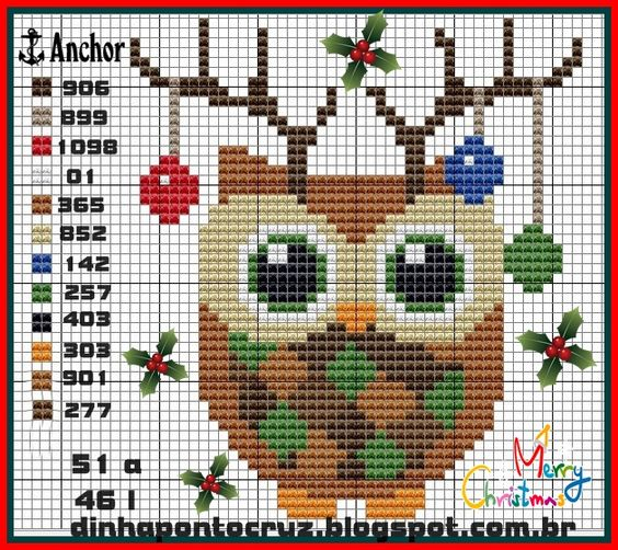 Mais de 50 Ideias Para Decorar No Natal. corujas Em Ponto Cruz Com Diagramas