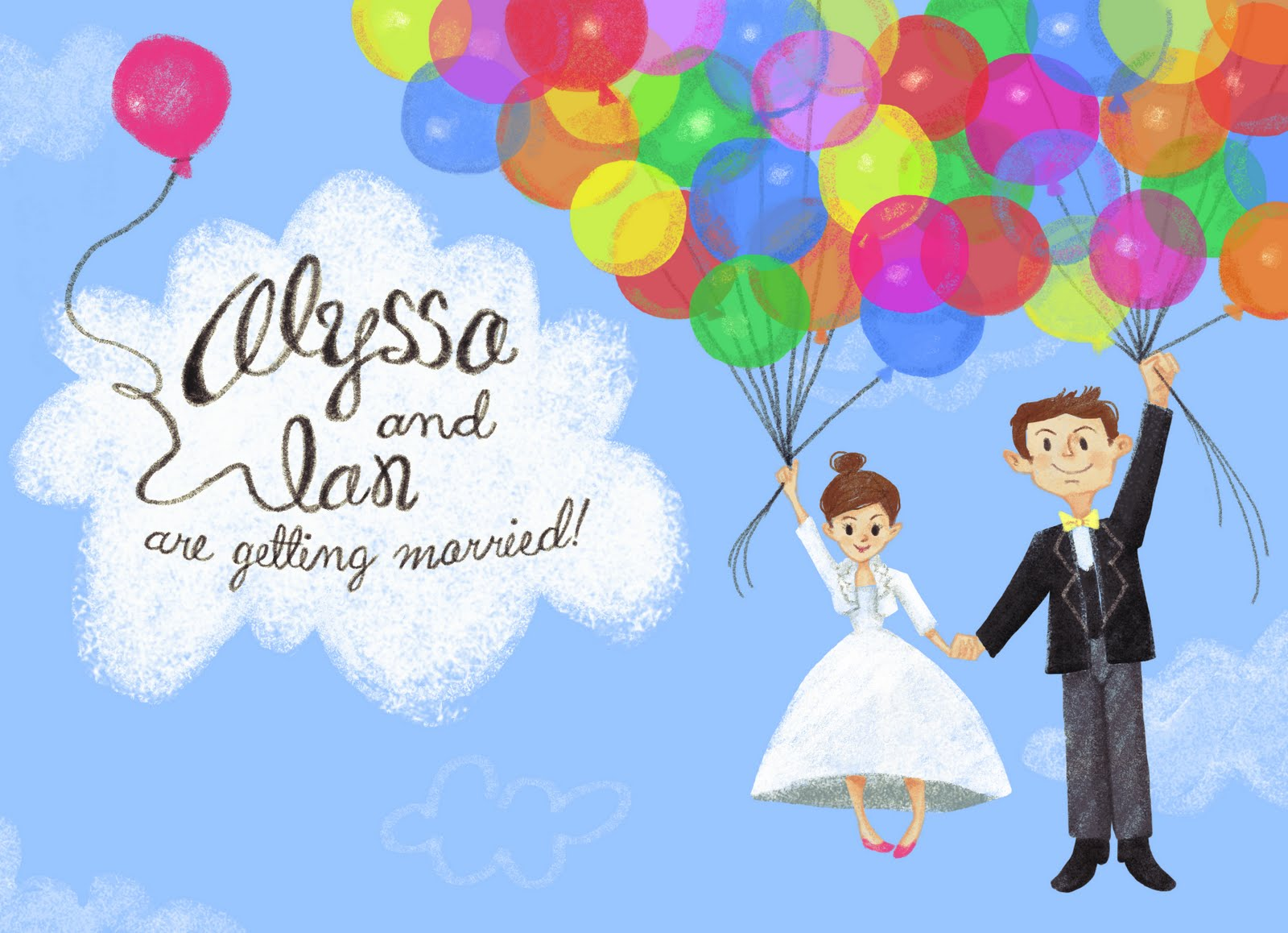 Up Themed Wedding Invitations: Alyssa Coles Illustrator: Up Themed Wedding Invite