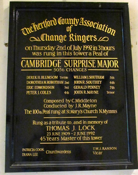 A three-hour peal that took place at St Mary's on July 2, 1992 Rung as a tribute to, and in memory of, Thomas J. Lock - 45 years Master of the tower  Image by the North Mymms History Project, released under Creative Commons BY-NC-SA 4.0
