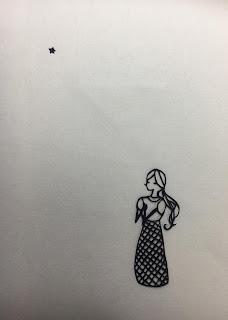 「水底のα星」切り絵(祈る少女)