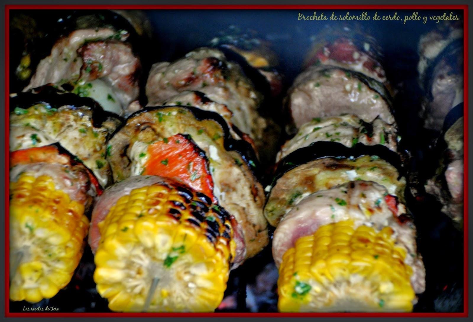 Brocheta de solomillo de cerdo, pollo y vegetales 03