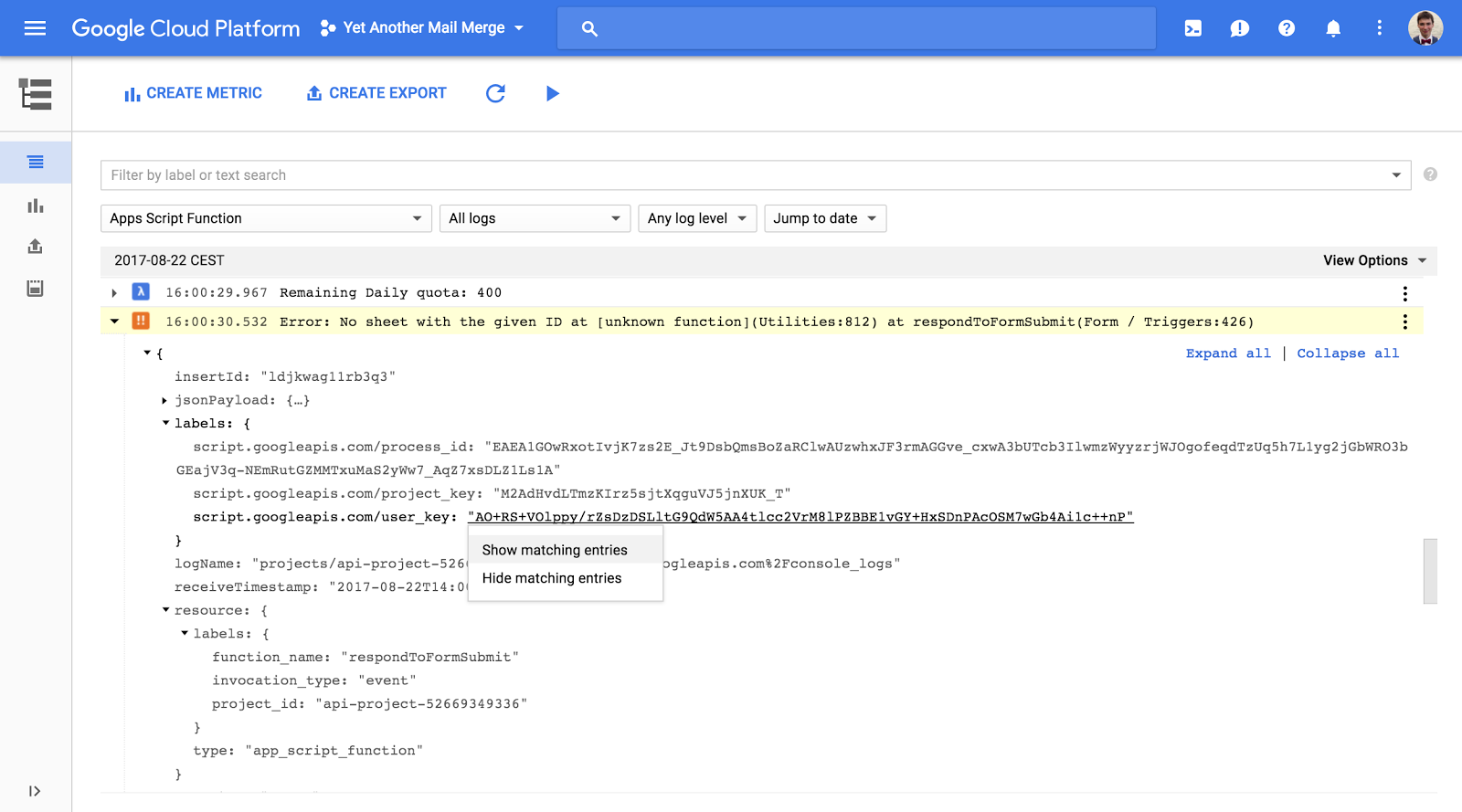 G suite developers blog stackdriver logging for google apps developers get some of these aggregated analyses for free in the stackdriver error reporting tab of the developer console you can see recurring errors and baditri Image collections