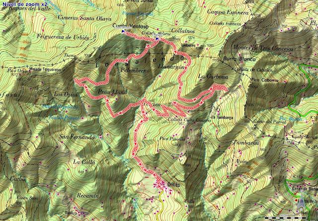 Mapa de la ruta Orillés - Cuetu Ventosu