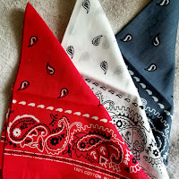 a photo of a red, white and blue linen handkerchief or bandanna