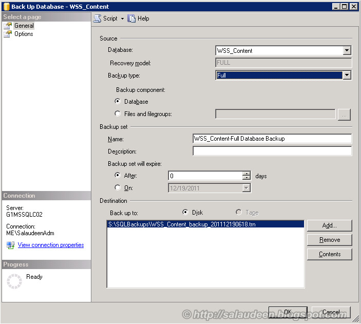 Backup SharePoint Content Database from SQL Server