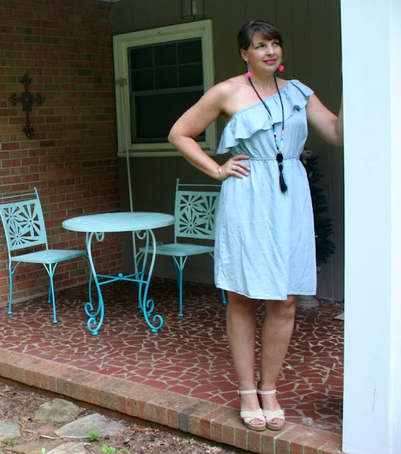 I happened upon this One Shoulder Chambray Dress on the clearance rack for $9 and could not pass it up!