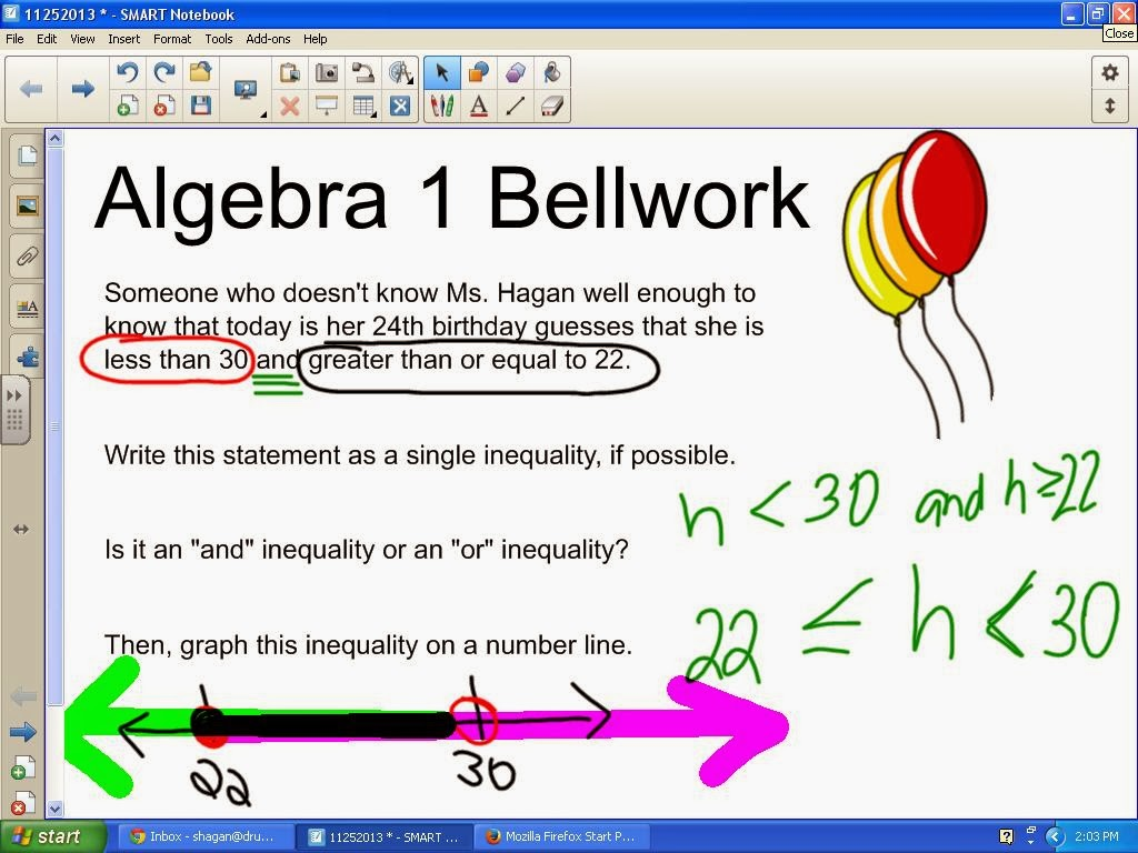 Math love two cubed times three how a math teacher celebrates algebra 1 birthday bellwork compound inequalities bookmarktalkfo Images