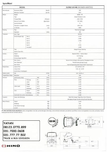 spesifikasi truk hino dutro 130 hd xpower