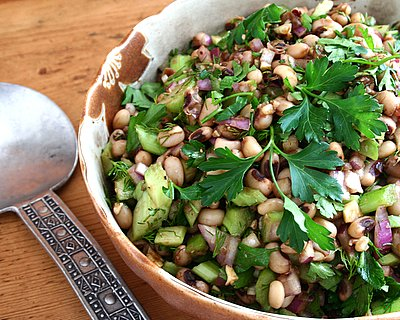 Lucky Black-Eyed Pea Salad ♥ KitchenParade.com, to bring luck (and good health) in the new year, cook traditional black-eyed peas and turn into a healthful salad primed with vegetables and fresh herbs. Weight Watchers Friendly. Great for Meal Prep. Vegan. Gluten Free.