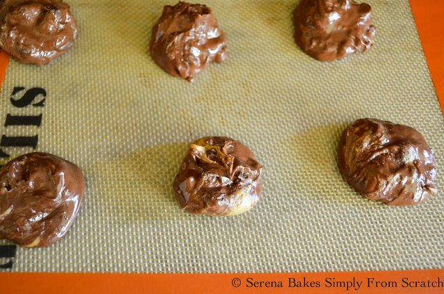 Flourless Brownie Peanut Butter Swirl Cookies recipe on cookie sheet.