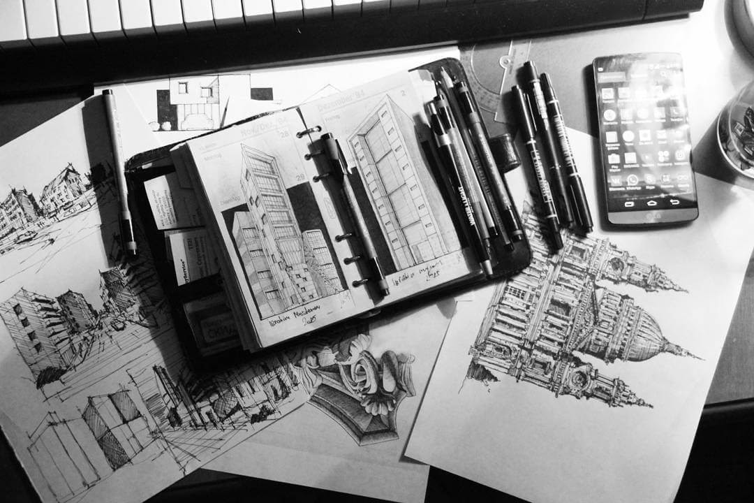14-Array-of-drawings-and-Sketches-Ibragim-Mustanov-Traditional-and-Modern-Architecture-plus-Video-www-designstack-co