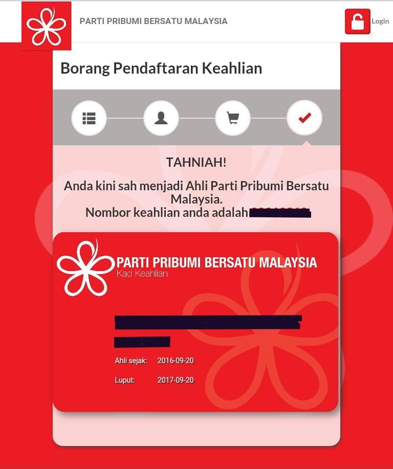 Daftar Online Parti Pribumi Bersatu Malaysia Sudah Dibuka