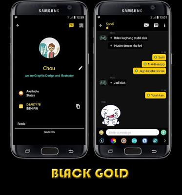 BBM MOD Black Gold Apk v3.0.1.25 Unclone Full DP [BBM Keren Edisi 2016 Sticker Lucu]