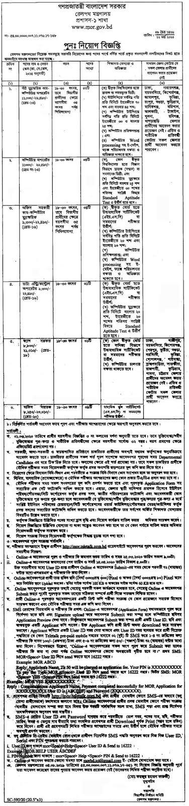 বাংলাদেশ রেলপথ মন্ত্রণালয় নিয়োগ বিজ্ঞপ্তি ২০২০  Ministry of Bangladesh Railway Job Circular 2020