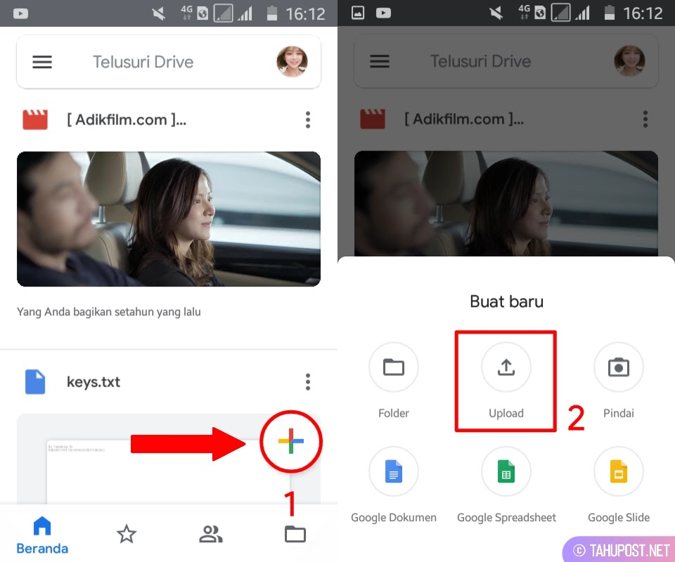 Klik Upload - Cara Upload File ke Google Drive
