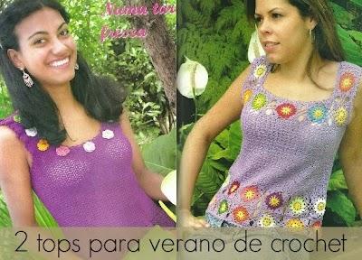 2 Tops de crochet para verano con florecitas
